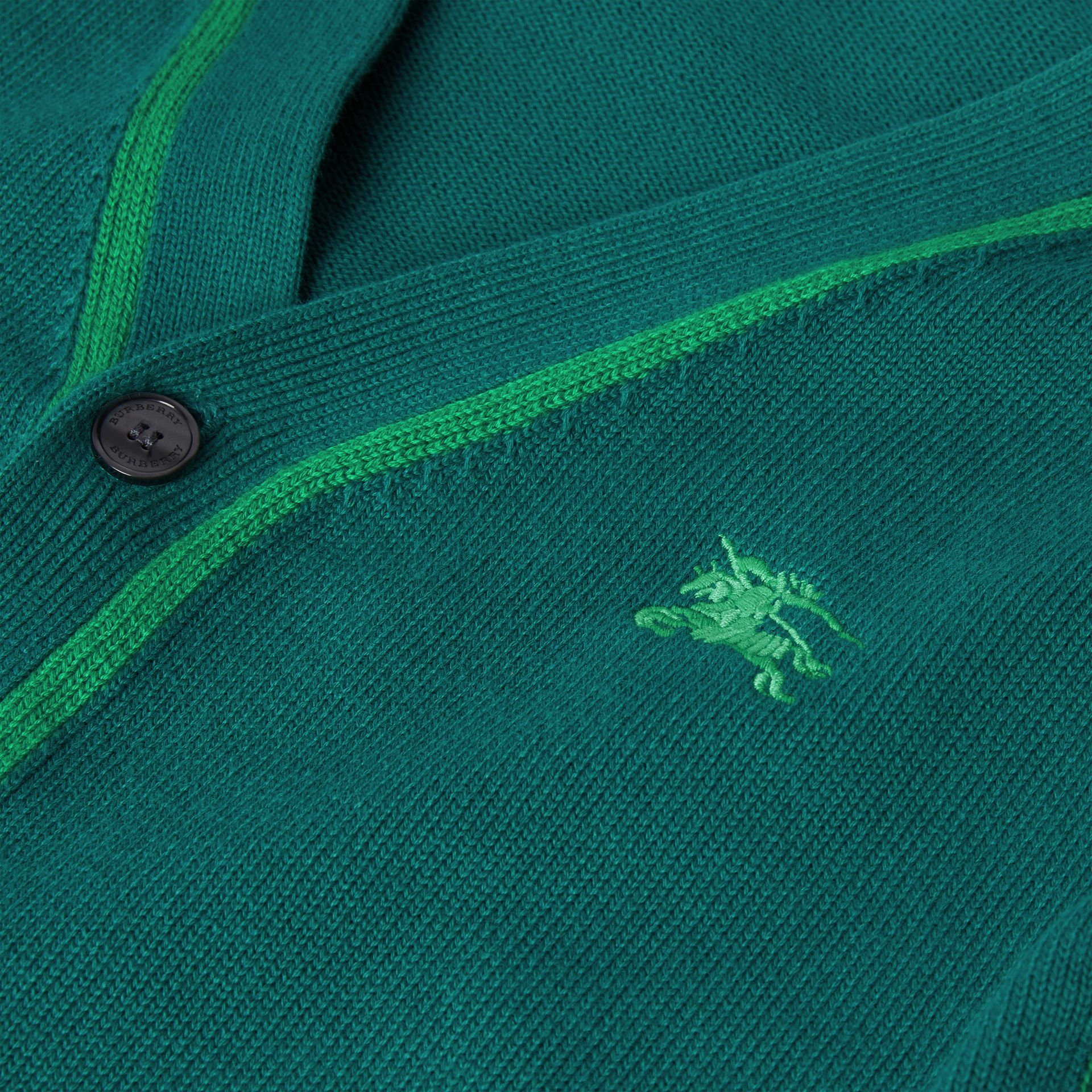 Two-tone Cotton Knit Cardigan in Dark Cyan | Burberry United States - gallery image 1