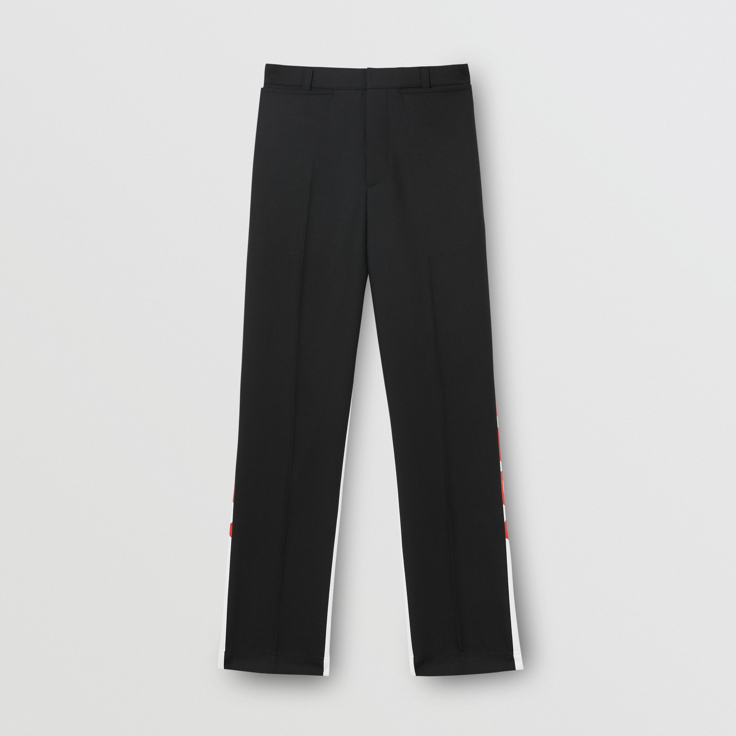 Logo Print Two-tone Wool Mohair Trousers in Black - Men | Burberry - 4