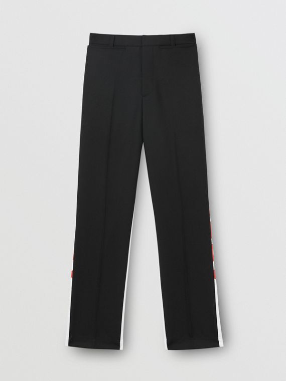 Logo Print Two-tone Wool Mohair Trousers in Black