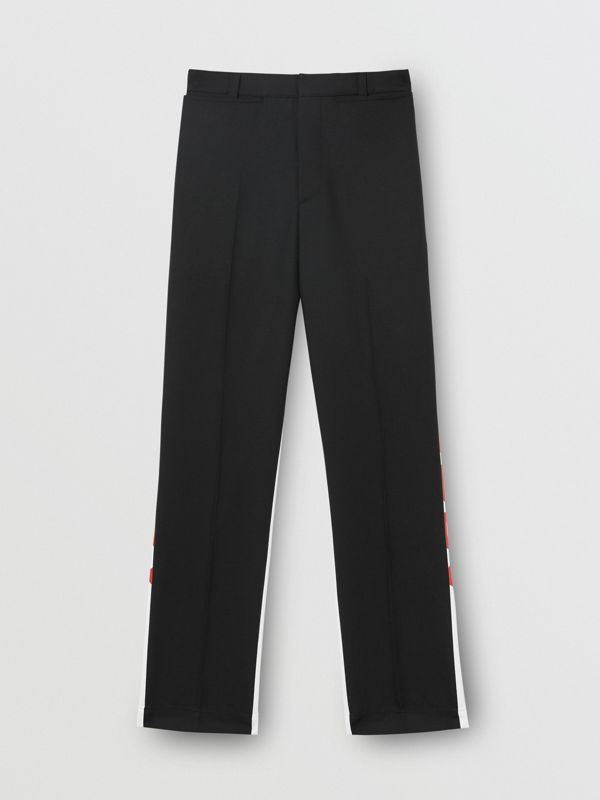 Logo Print Two-tone Wool Mohair Trousers in Black - Men | Burberry Hong Kong S.A.R - cell image 3