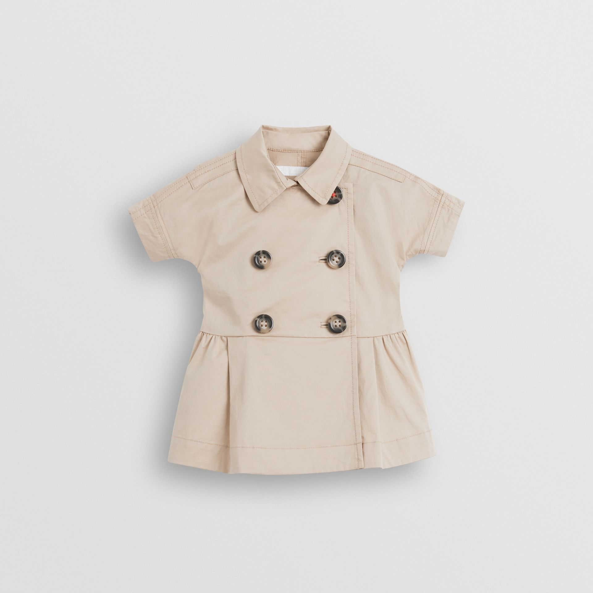 Stretch Cotton Trench Dress in Honey - Children | Burberry United Kingdom - gallery image 0