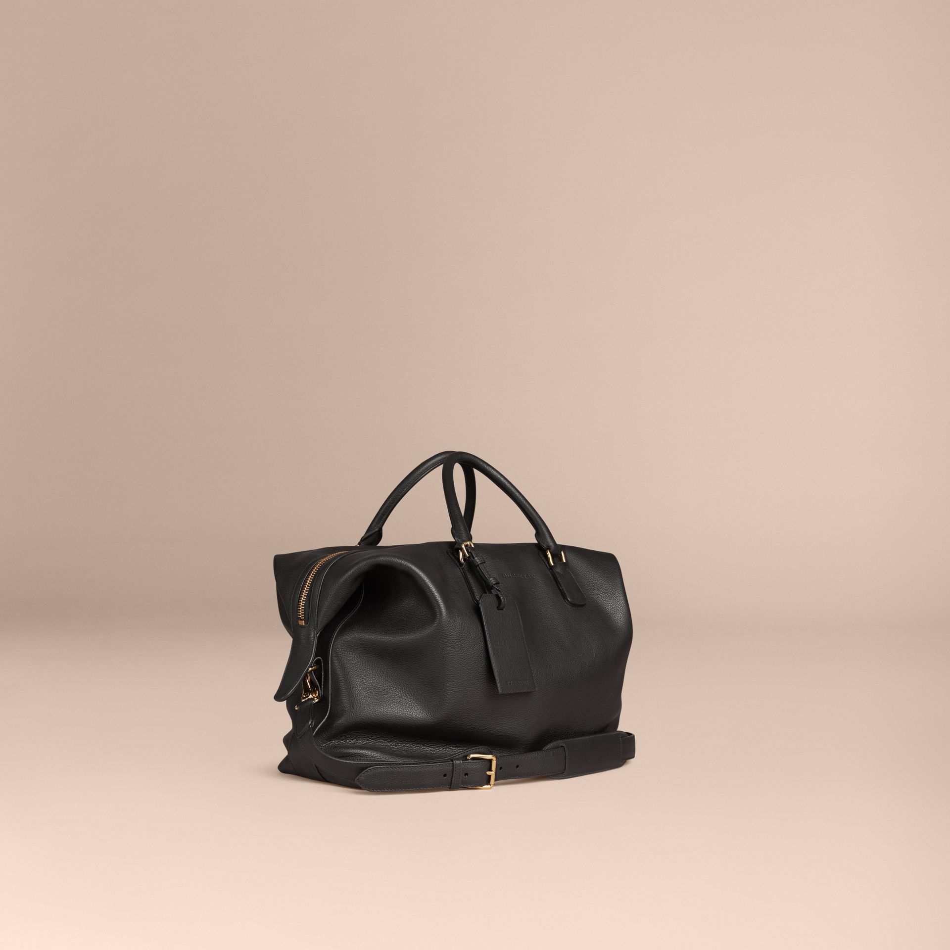 Black Grainy Leather Holdall Black - gallery image 1