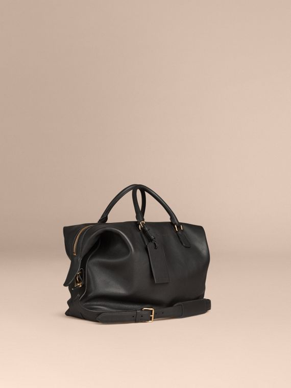 Reisetasche aus genarbtem Leder Schwarz