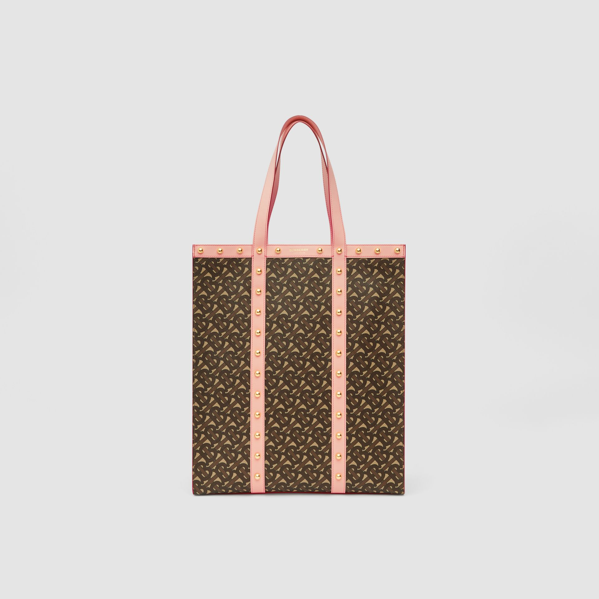 Monogram Print E-canvas Portrait Tote Bag in Cloud Pink | Burberry - gallery image 0