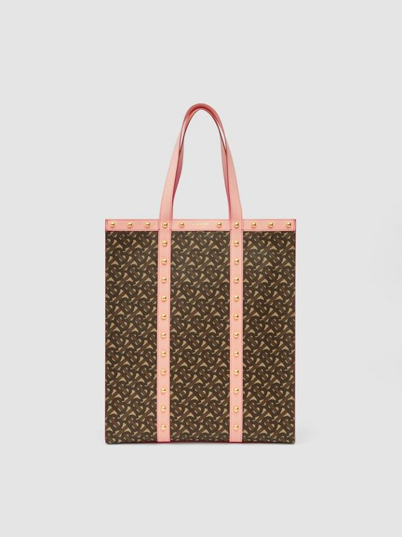 Monogram Print E-canvas Portrait Tote Bag in Cloud Pink