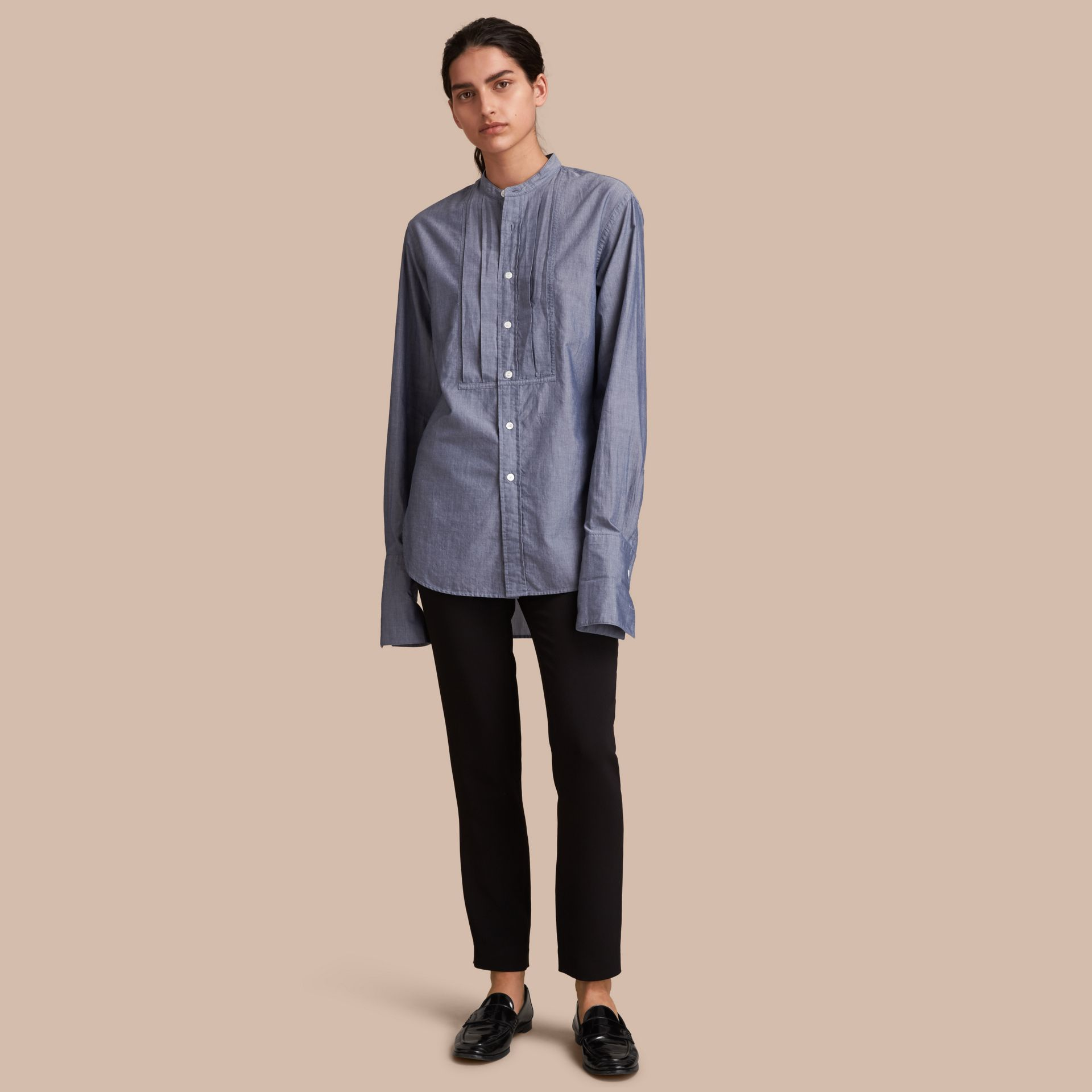 Unisex Grandad Collar Pleated Bib Cotton Shirt - Women | Burberry - gallery image 1