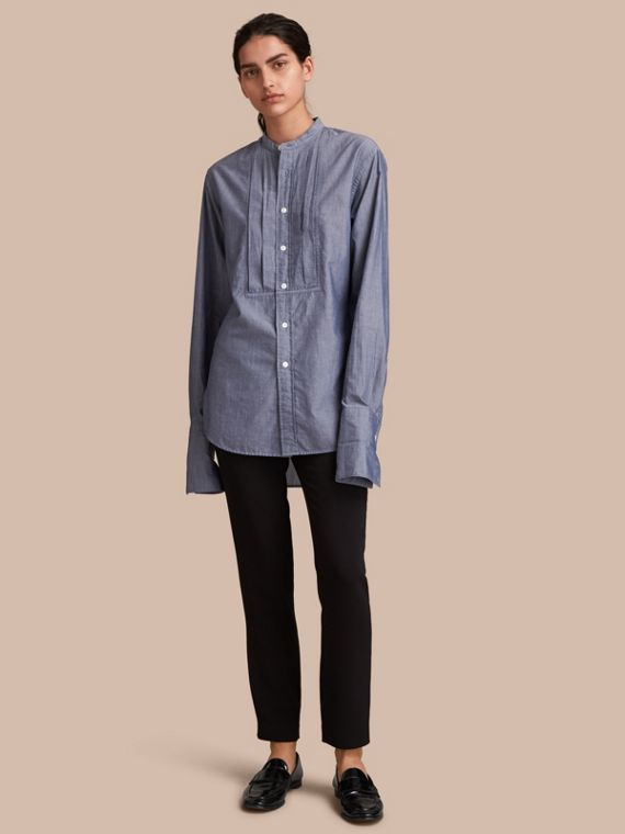 Unisex Grandad Collar Pleated Bib Cotton Shirt