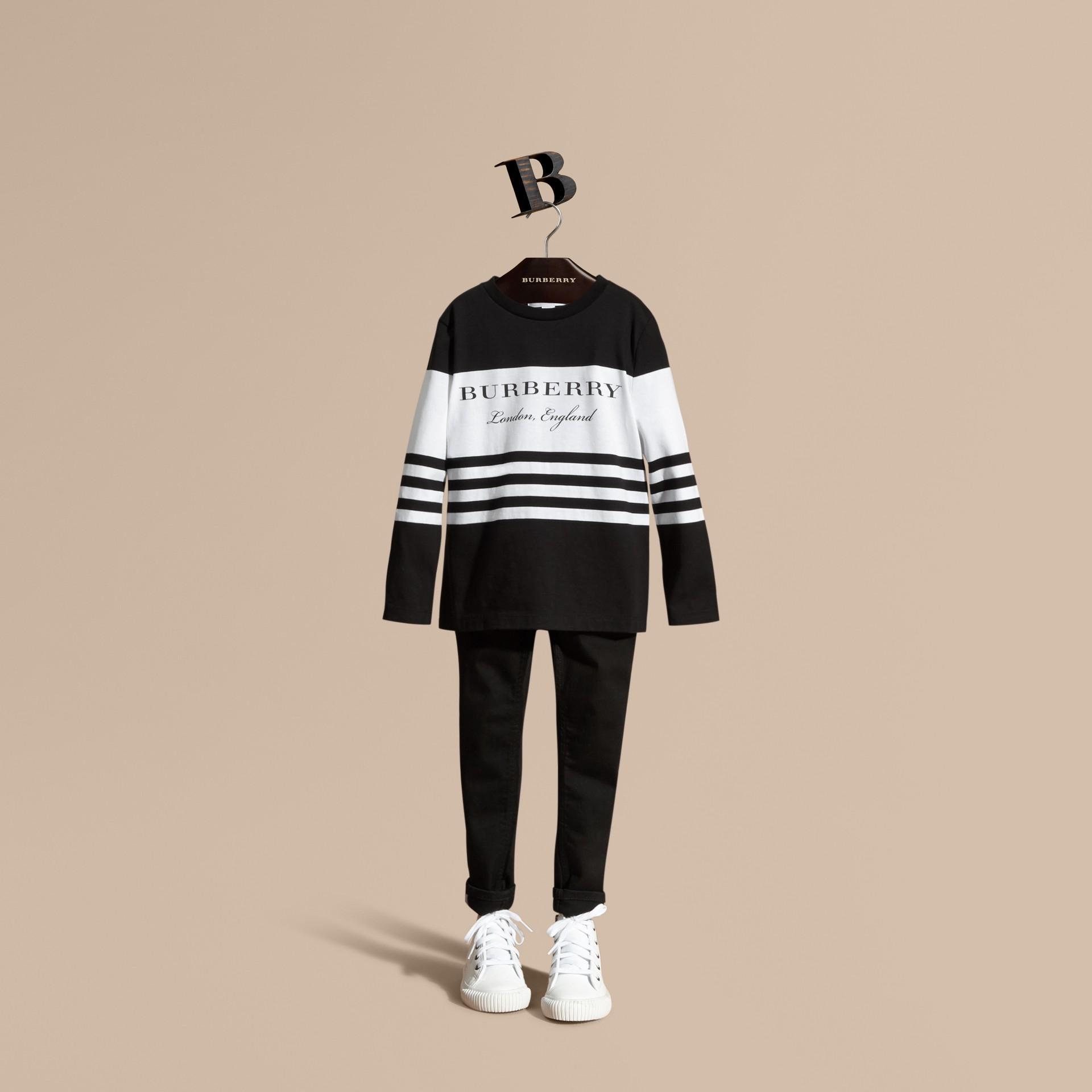 Nero T-shirt a maniche lunghe in cotone a righe Nero - immagine della galleria 1