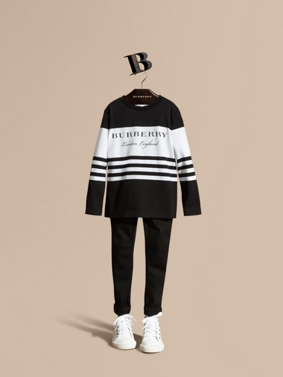 Long-sleeved Striped Cotton T-shirt Black