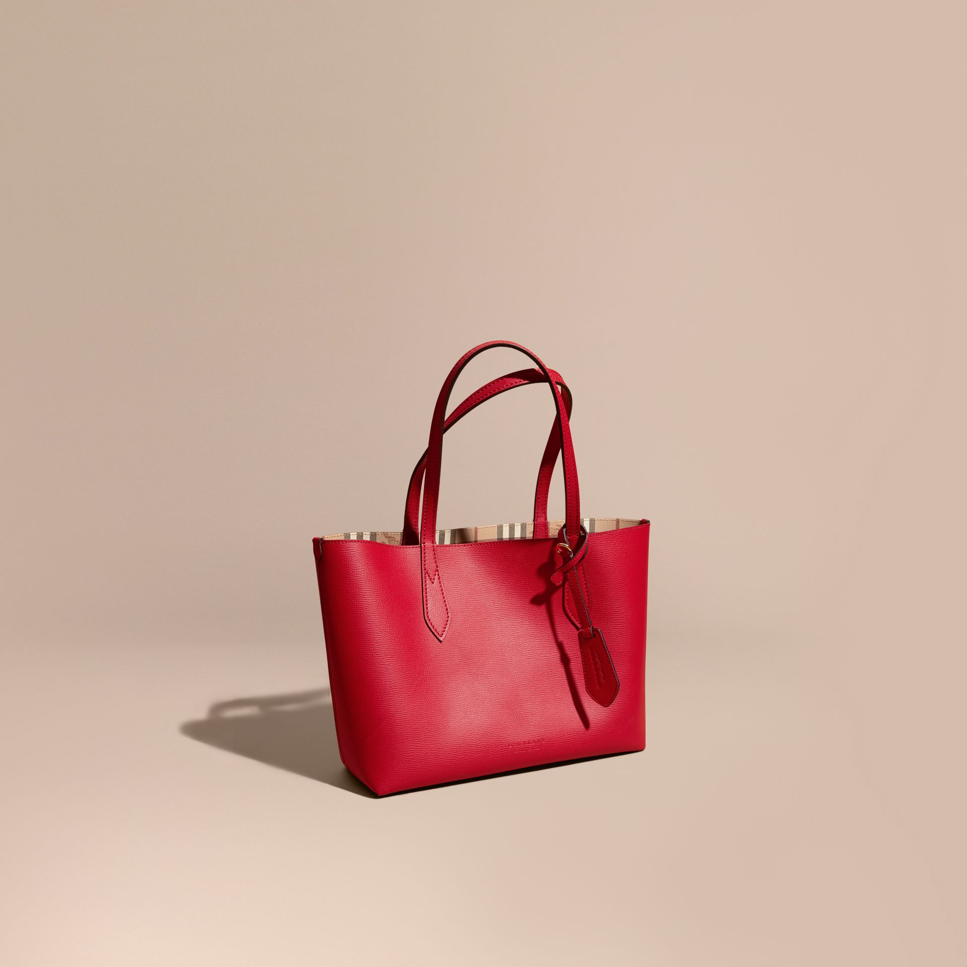 The Small Reversible Tote in Haymarket Check and Leather Poppy Red - gallery image 1