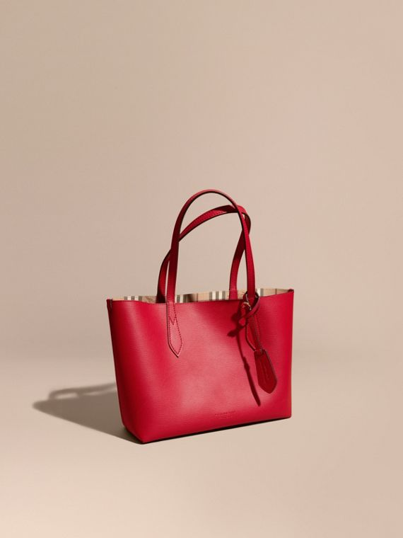 The Small Reversible Tote in Haymarket Check and Leather Poppy Red