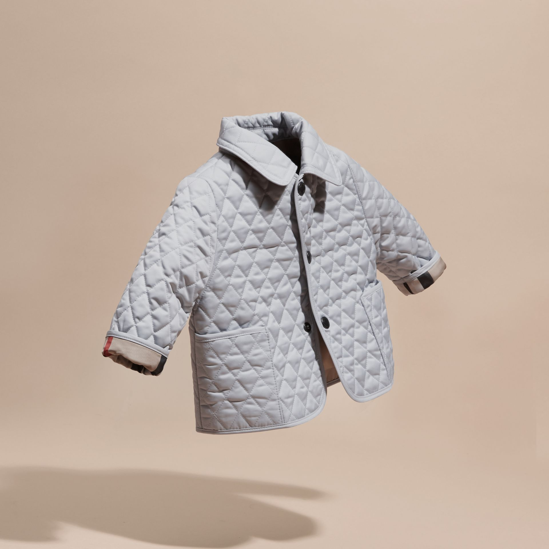 Check Detail Diamond Quilted Jacket in Ice Blue | Burberry - gallery image 3
