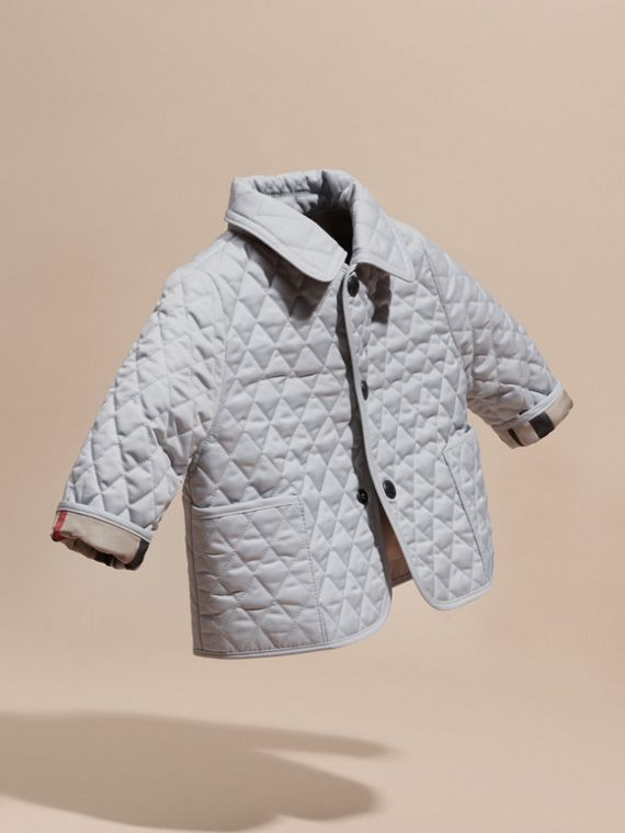 Check Detail Diamond Quilted Jacket in Ice Blue - cell image 2