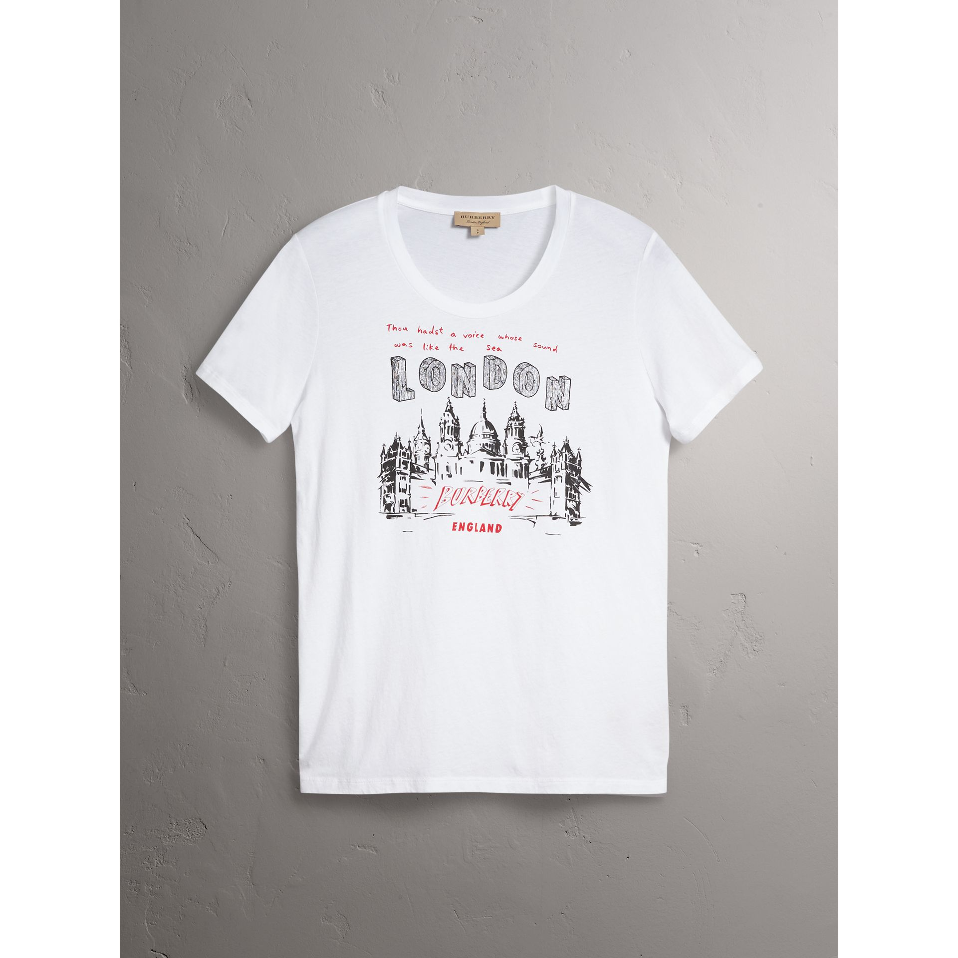 London Icons Print Cotton T-shirt in White - Women | Burberry - gallery image 3