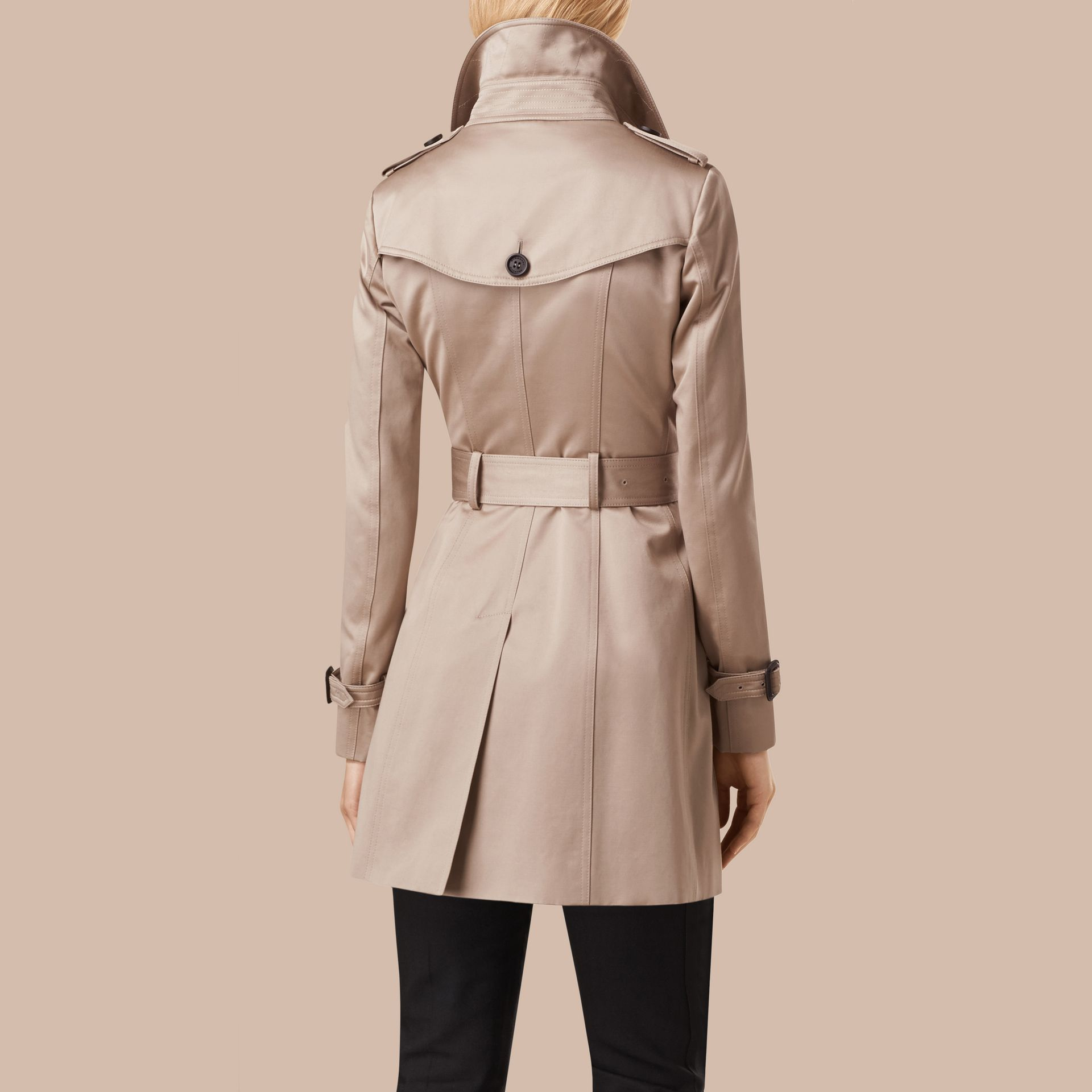 Stone Cotton Sateen Trench Coat Stone - gallery image 4
