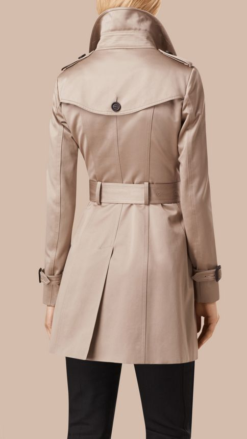 Stone Cotton Sateen Trench Coat Stone - Image 4