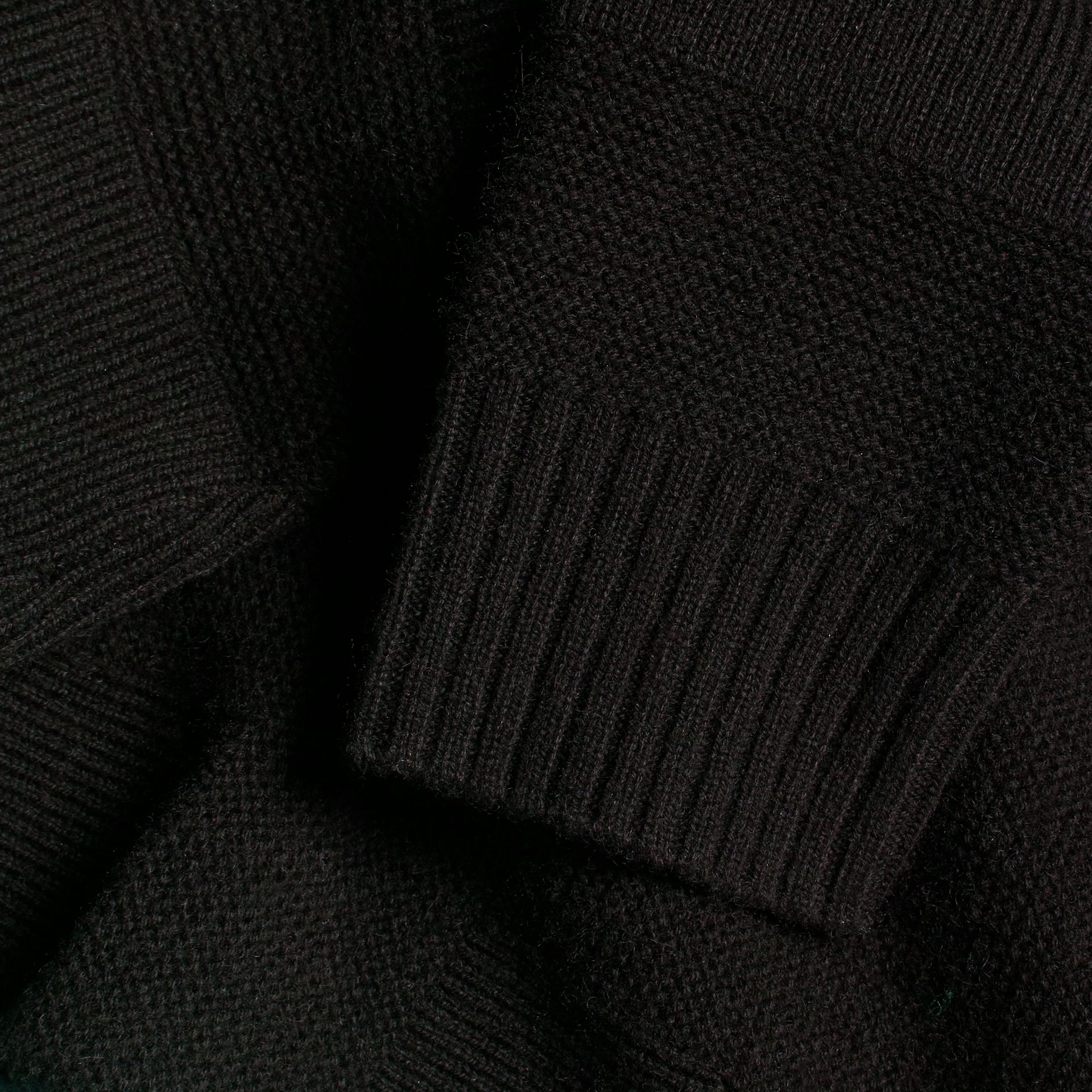 Check-knit Wool Cashmere Sweater Black - gallery image 2