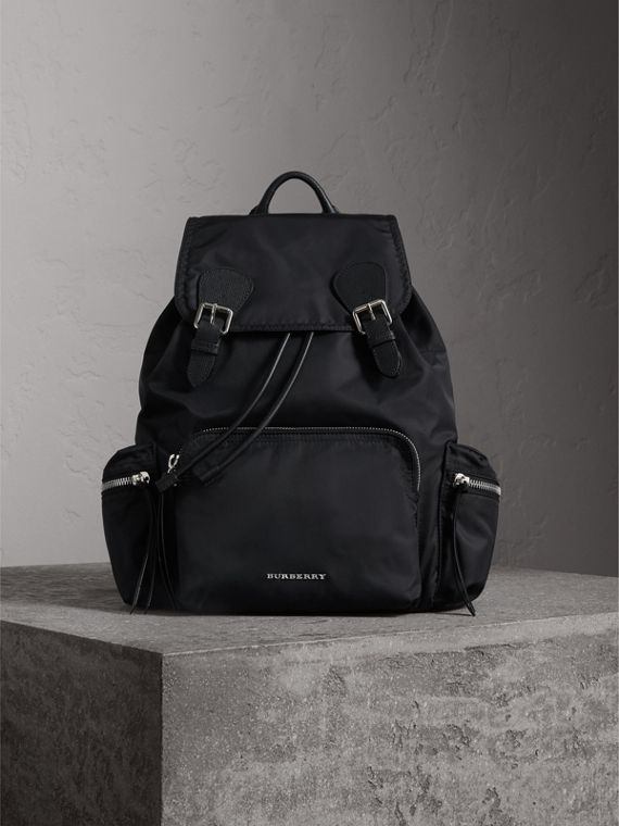The Large Rucksack in Technical Nylon and Leather in Black/black - Women | Burberry - cell image 2