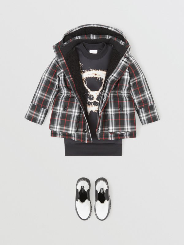 Vintage Check Down-filled Hooded Puffer Jacket in Black | Burberry Australia - cell image 2