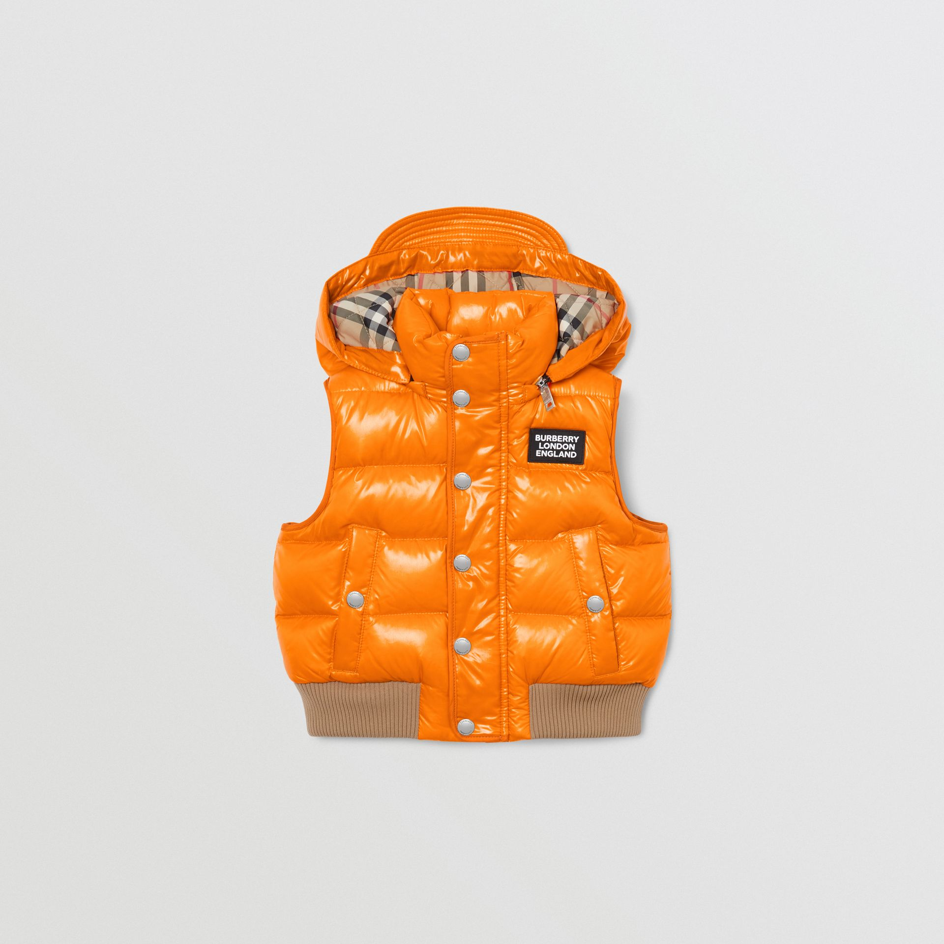 Detachable Hood Nylon Puffer Gilet in Bright Mandarin | Burberry Australia - gallery image 0