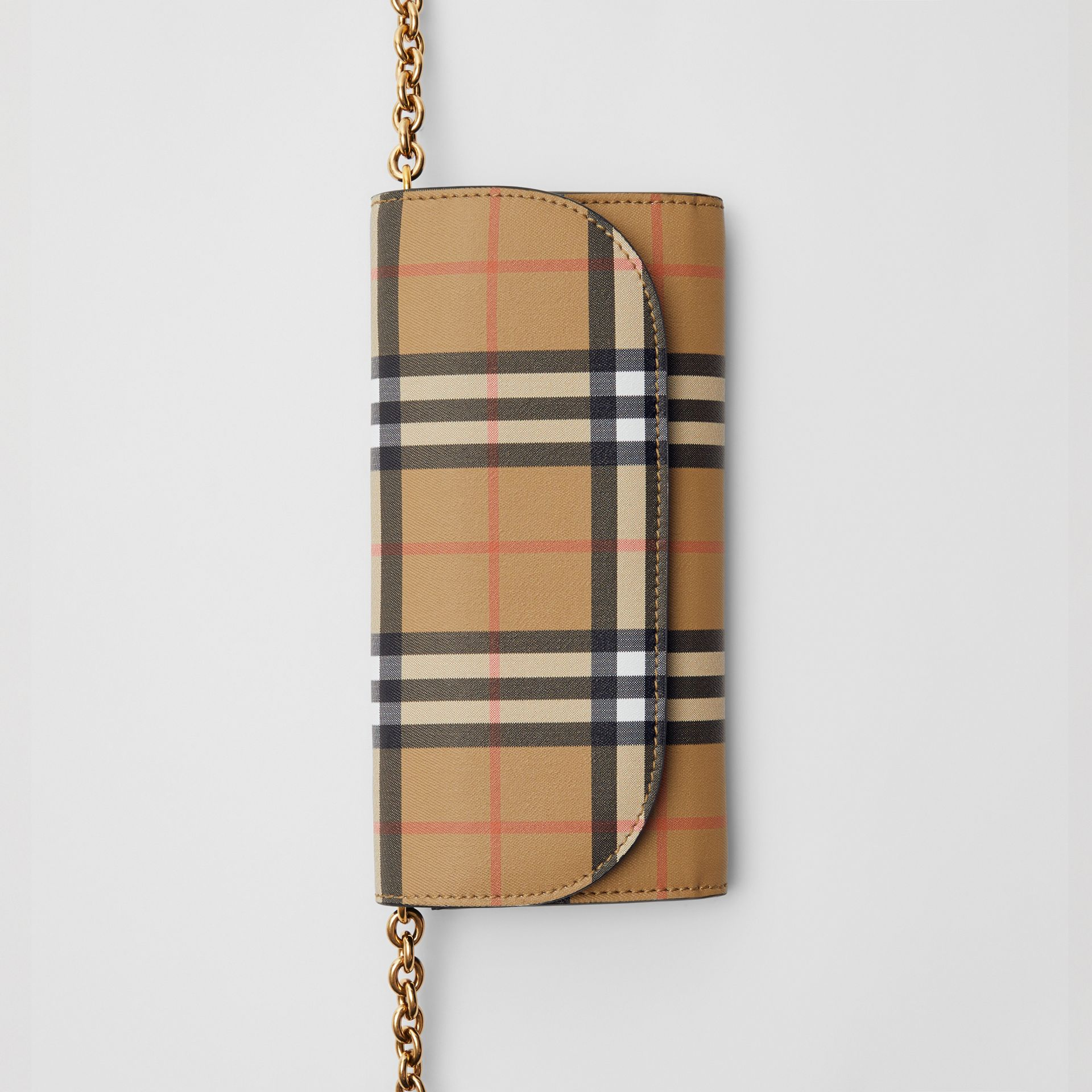 Vintage Check and Leather Wallet with Chain in Black - Women | Burberry Canada - gallery image 2