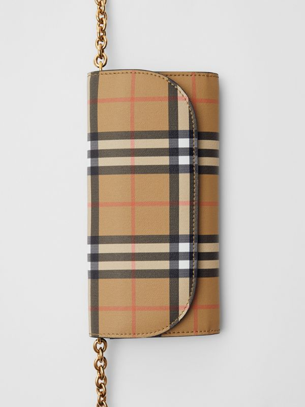 Vintage Check and Leather Wallet with Chain in Black - Women | Burberry Canada - cell image 2