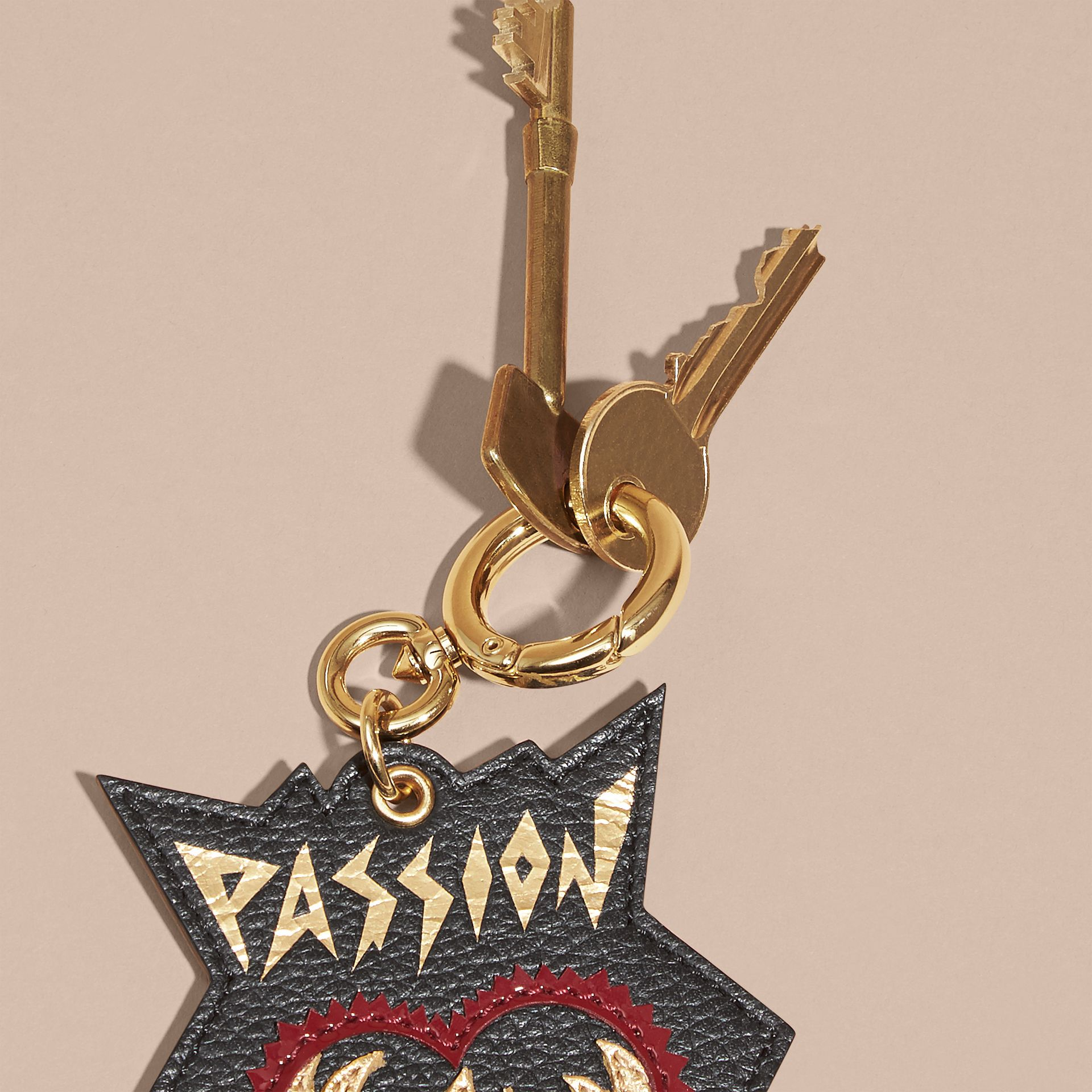Black Passion Leather Key Charm - gallery image 3