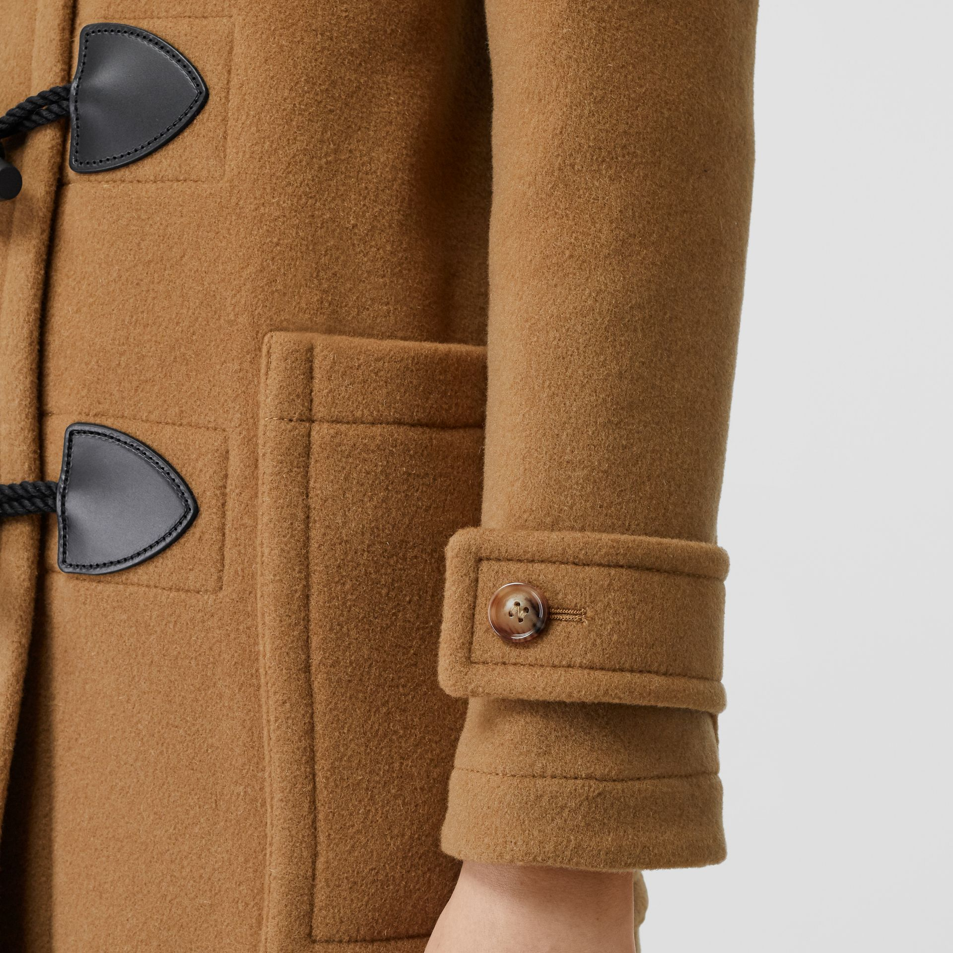 Wool Blend Duffle Coat in Mid Camel - Women | Burberry Singapore - gallery image 3