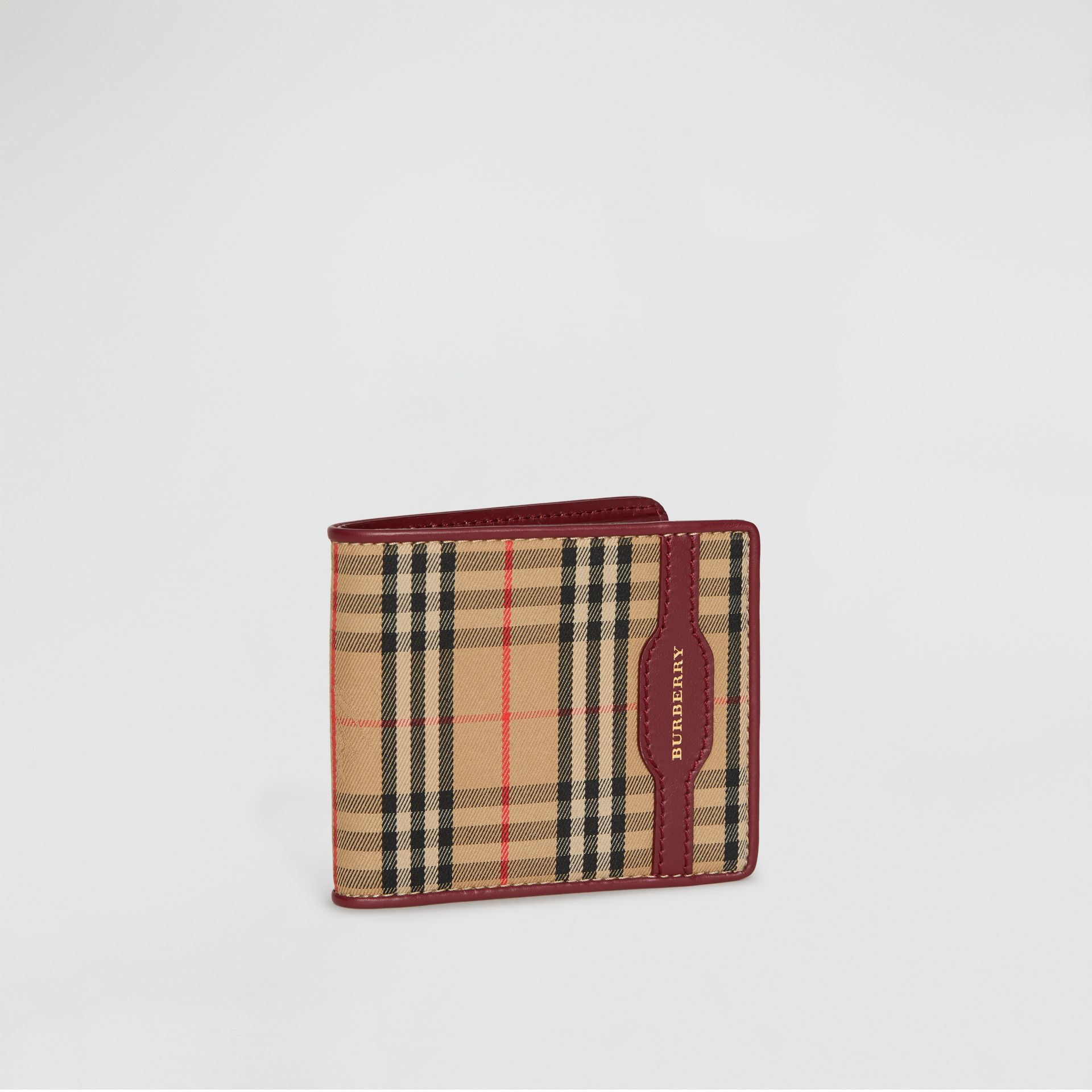 1983 Check and Leather International Bifold Wallet in Antique Red - Men | Burberry United Kingdom - gallery image 4