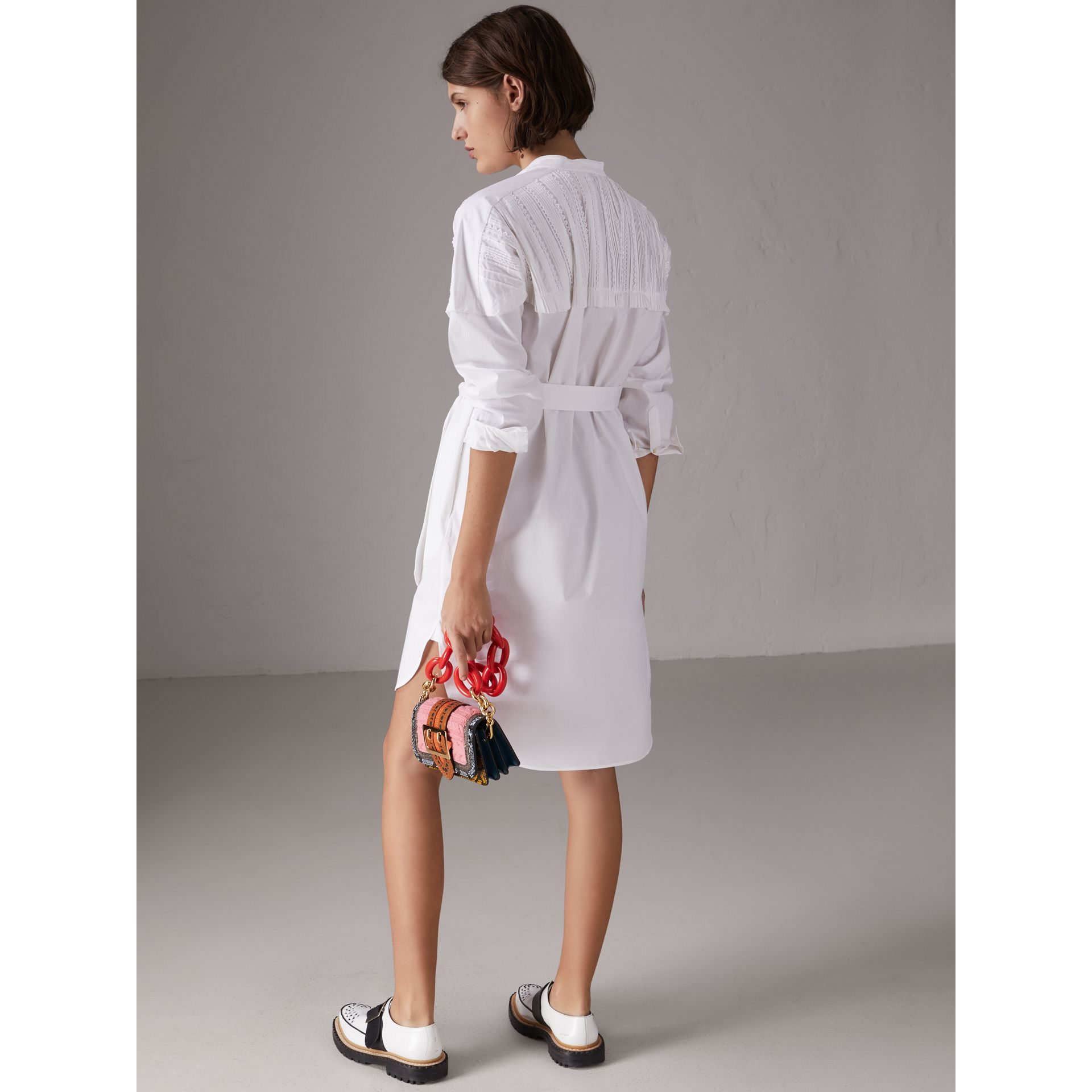 Pintuck Detail Stretch Cotton Shirt Dress in White - Women | Burberry United States - gallery image 2