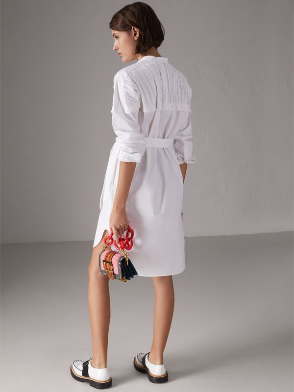 Pintuck Detail Stretch Cotton Shirt Dress in White - Women | Burberry - cell image 2