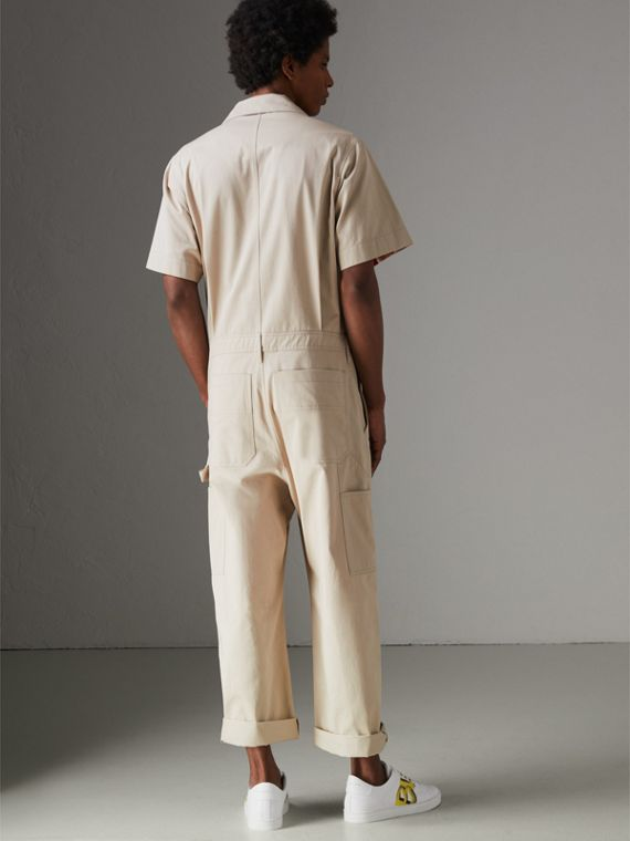 Short-sleeve Cotton Overalls in Stone - Men   Burberry United States - cell image 2
