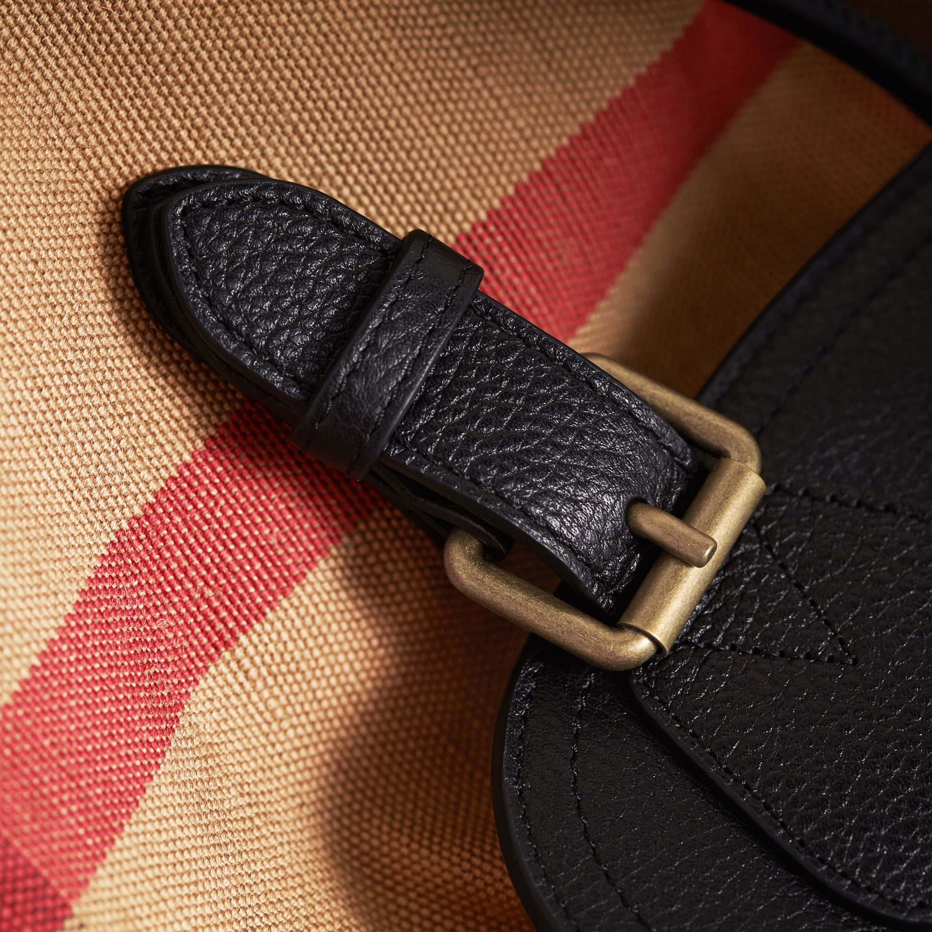 The Large Rucksack in Canvas Check and Leather in Classic - Men | Burberry - gallery image 2
