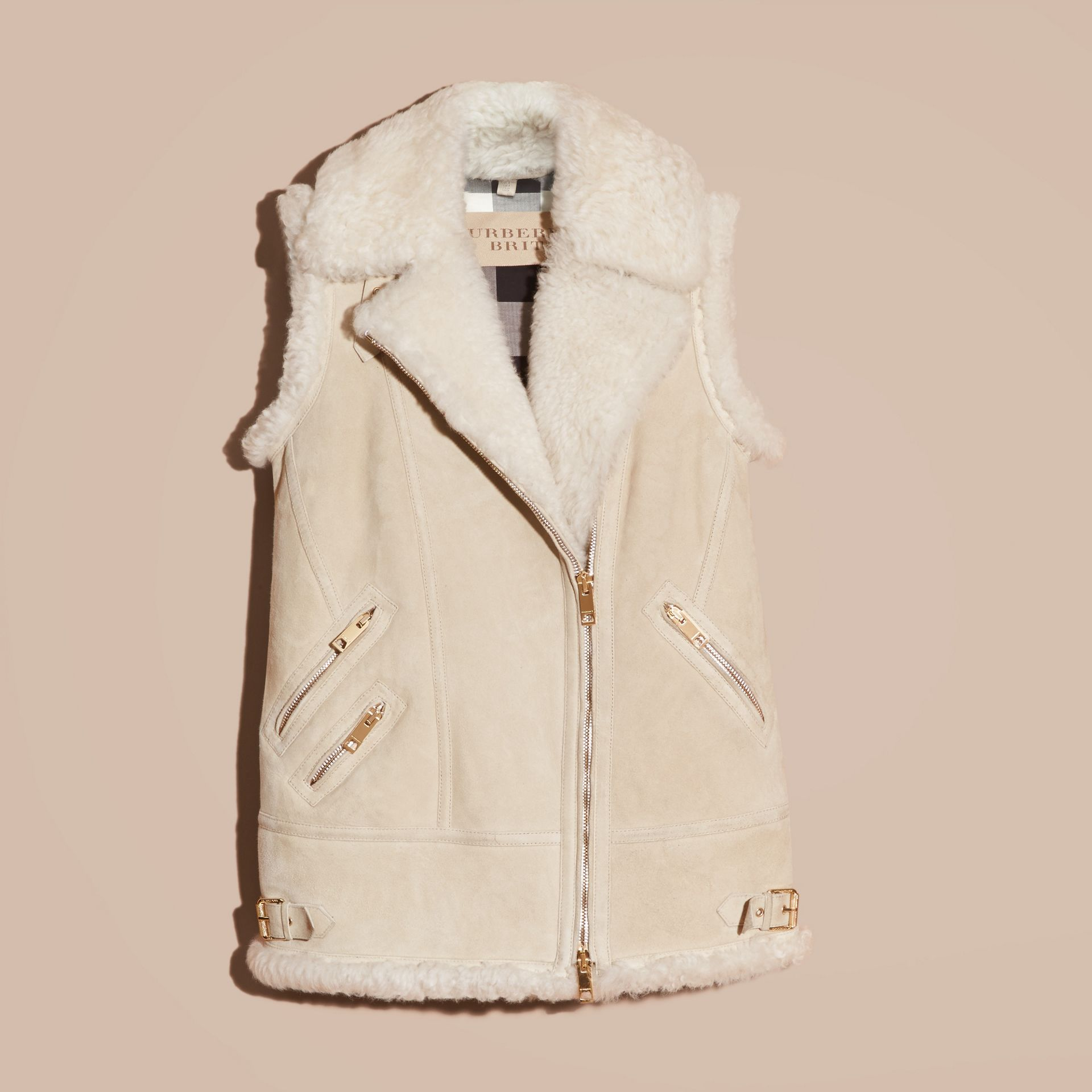 Natural white Shearling Biker Gilet Natural White - gallery image 4