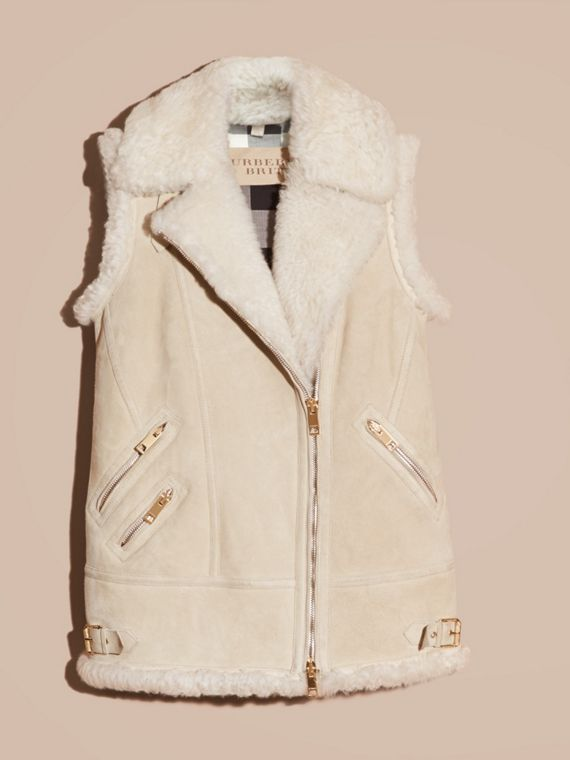 Natural white Shearling Biker Gilet Natural White - cell image 3