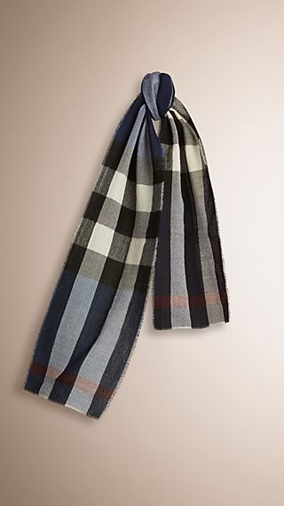 Check Wool Cashmere Scarf