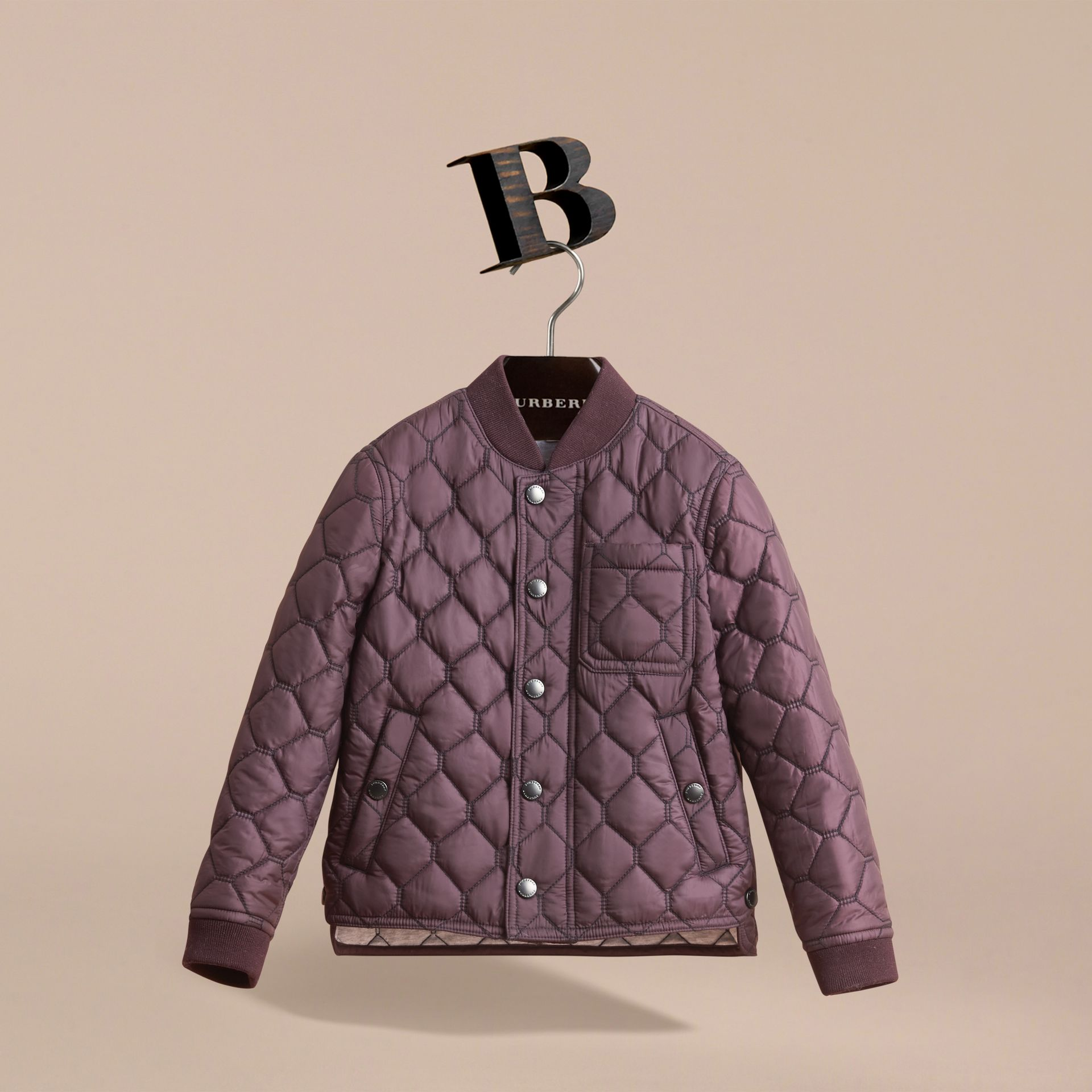 Contrast Topstitch Detail Quilted Jacket in Elderberry - Boy | Burberry - gallery image 3