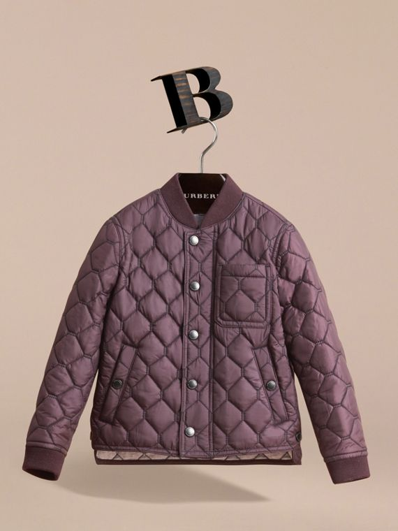 Contrast Topstitch Detail Quilted Jacket in Elderberry - Boy | Burberry - cell image 2