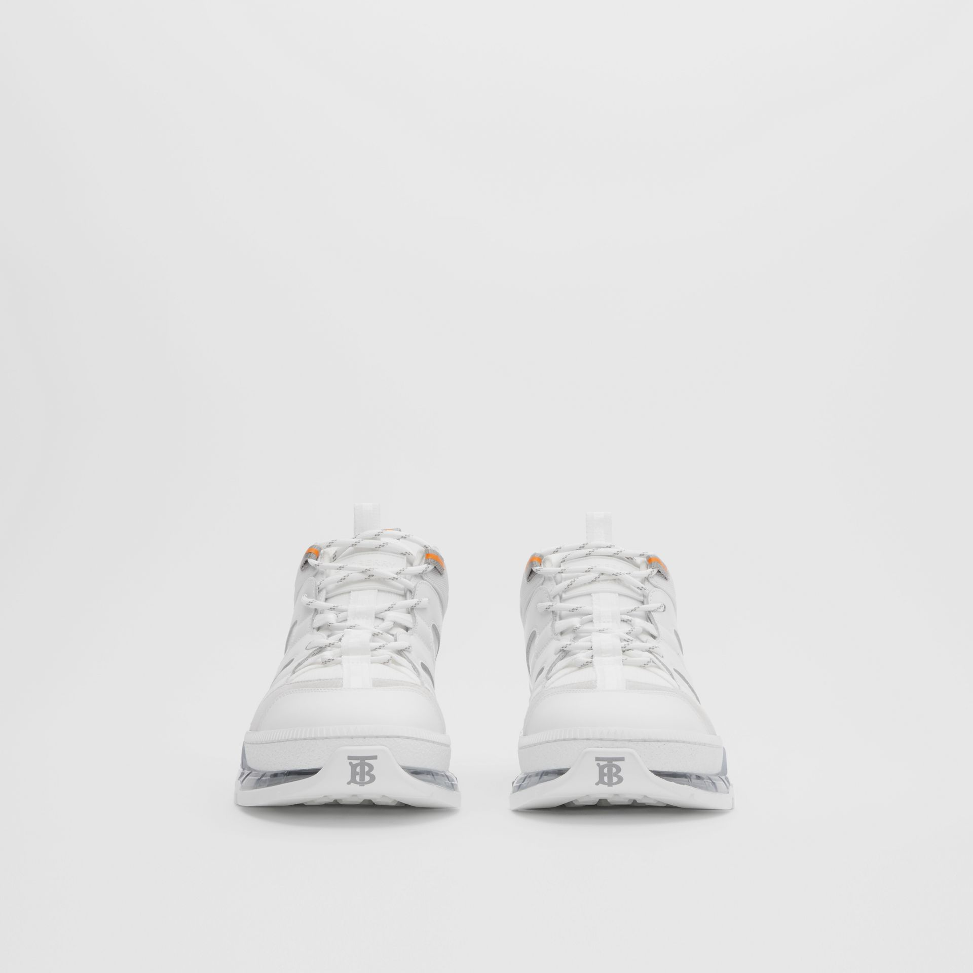 Nylon and Leather Union Sneakers in Optic White - Men | Burberry United Kingdom - gallery image 2