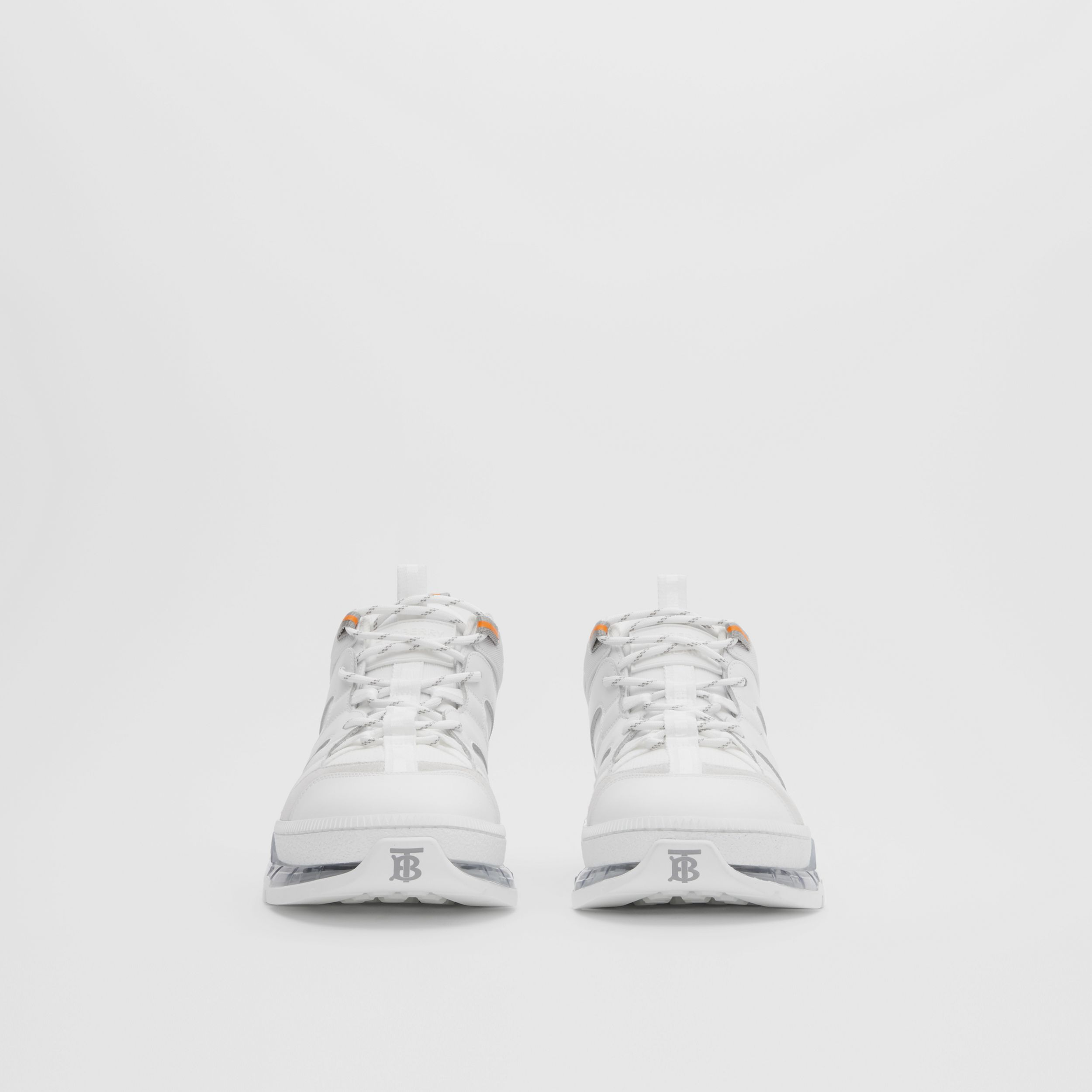 Nylon and Leather Union Sneakers in Optic White - Men | Burberry - 4