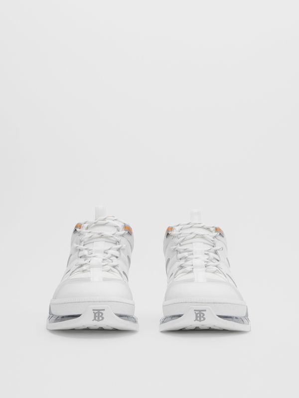 Nylon and Leather Union Sneakers in Optic White - Men | Burberry United Kingdom - cell image 2