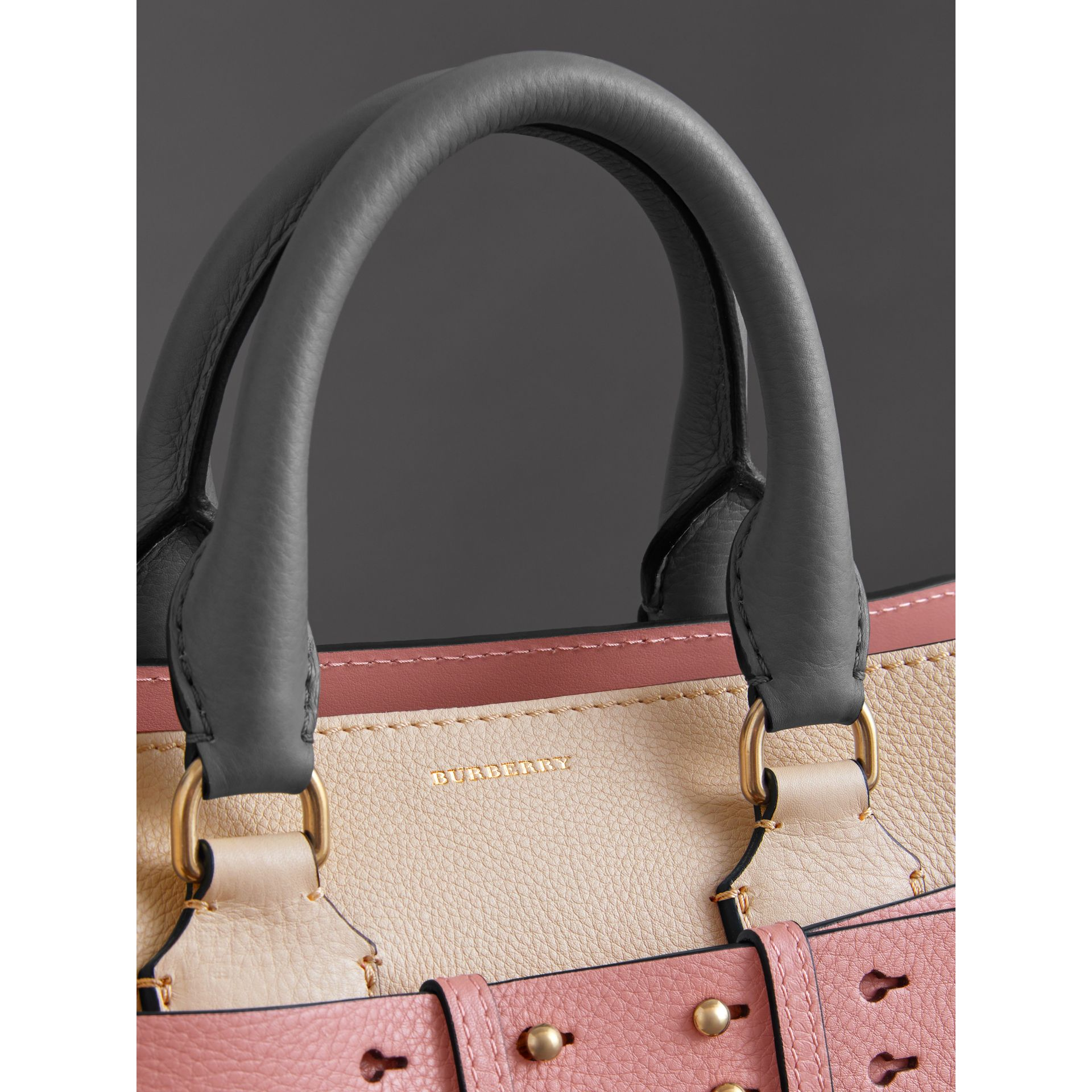 The Small Tri-tone Leather Belt Bag in Limestone/dusty Rose - Women | Burberry United Kingdom - gallery image 1