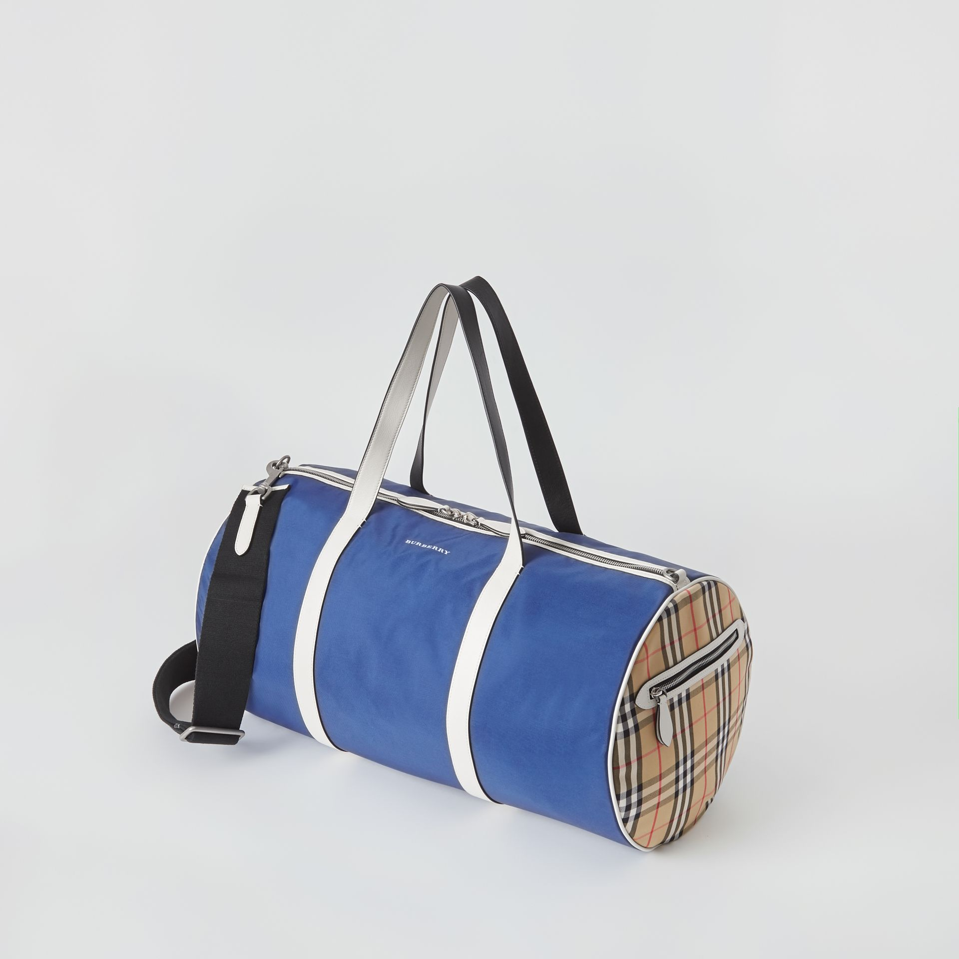 Large Colour Block Vintage Check Barrel Bag in Dark Canvas Blue - Men | Burberry - gallery image 4