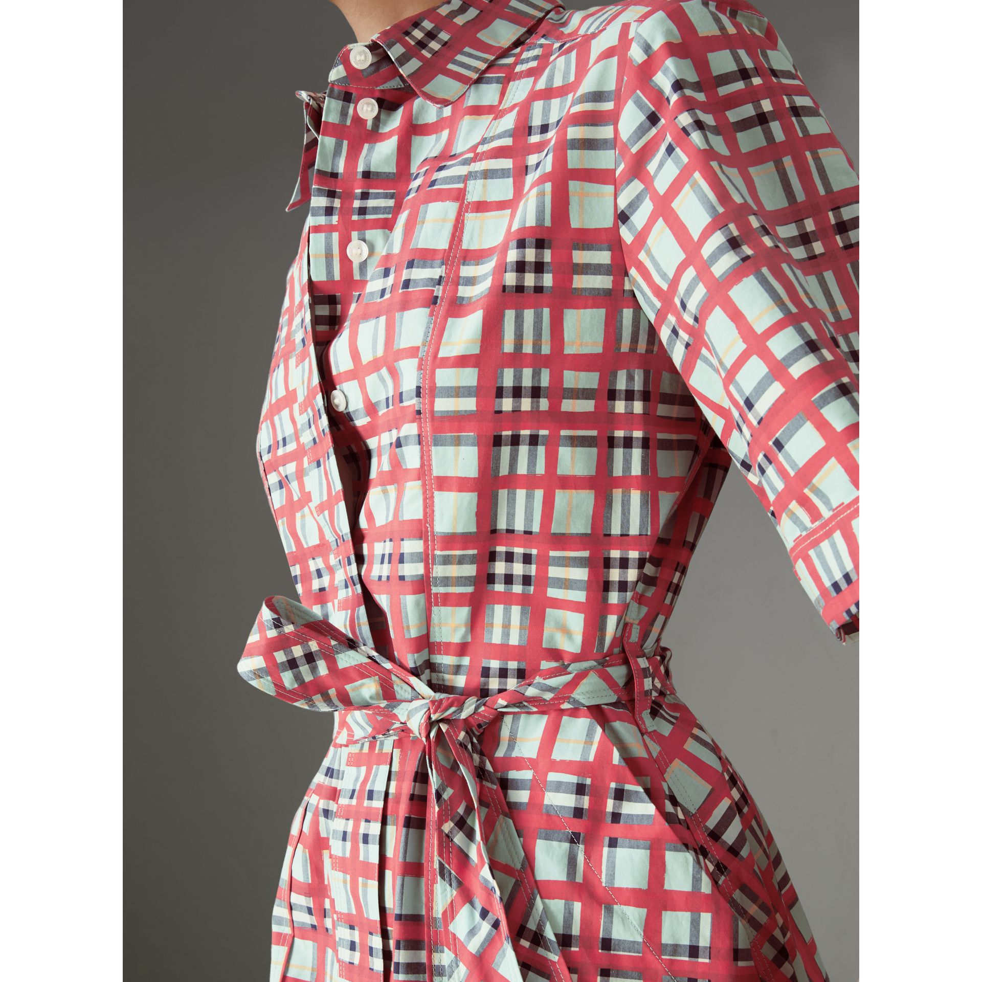 Painted Check Cotton Shirt Dress in Bright Aqua - Women | Burberry - gallery image 1