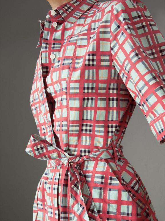 Painted Check Cotton Shirt Dress in Bright Aqua - Women | Burberry Australia - cell image 1