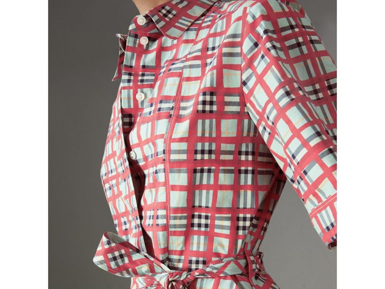 Painted Check Cotton Shirt Dress in Bright Aqua - Women | Burberry - cell image 1