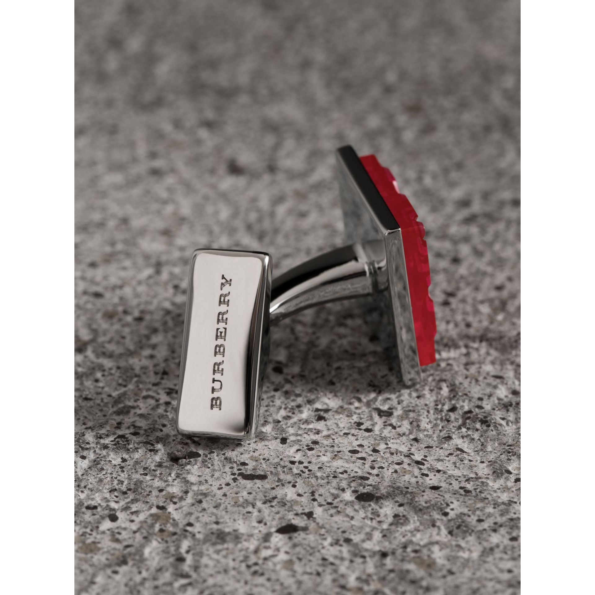 Check-engraved Square Cufflinks in Bright Pink - Men | Burberry - gallery image 1