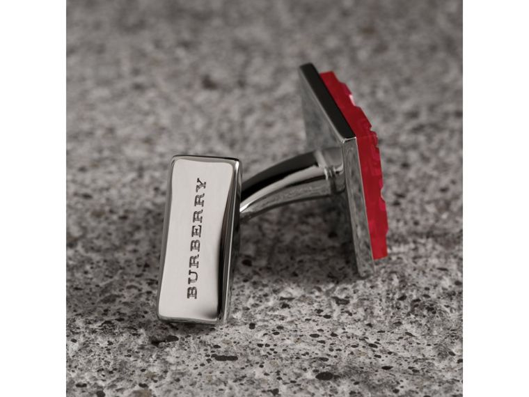 Check-engraved Square Cufflinks in Bright Pink - Men | Burberry - cell image 1