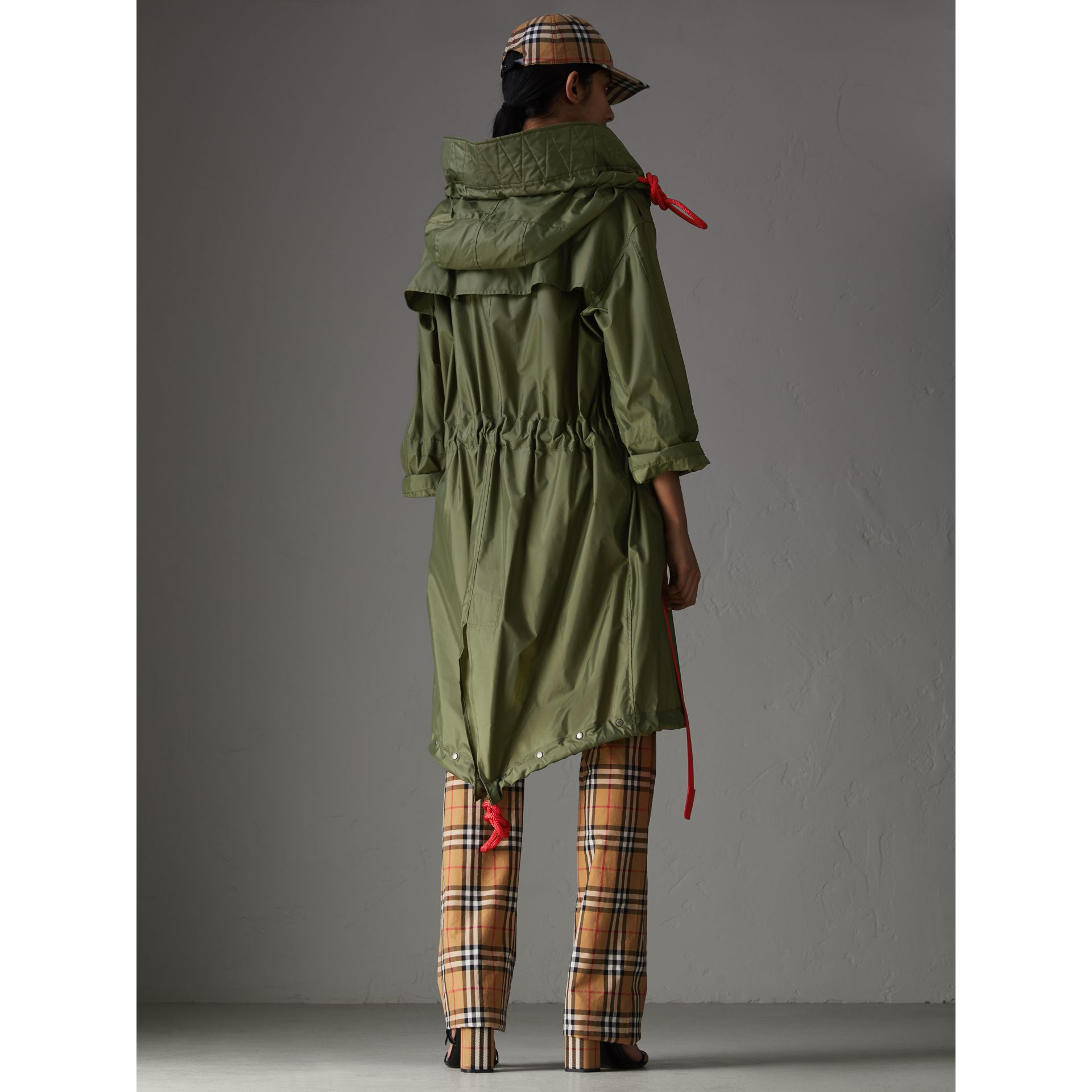 Tape Detail Showerproof Hooded Parka in Light Olive - Women | Burberry - gallery image 2