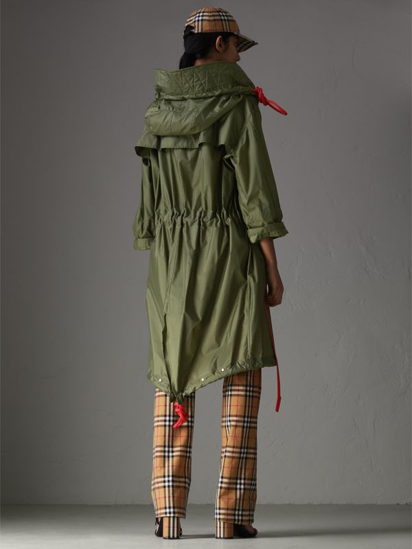 Tape Detail Showerproof Hooded Parka in Light Olive - Women | Burberry - cell image 2